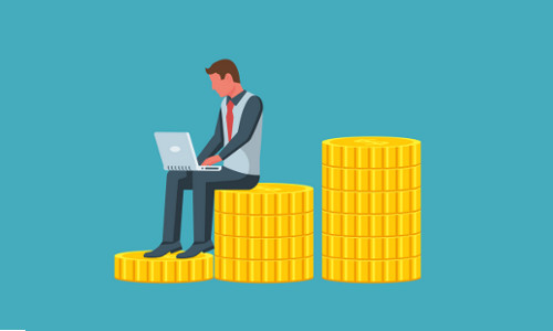 man with laptop computer sitting on stack of coins, illustration